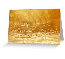 "THE ""THREE"" LITTLE LION CUBS, a Last light capture - THE LION – Panthera leo Greeting Card"