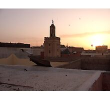 Sunset viewed from the riad rooftop terrace - Marrakesh Photographic Print