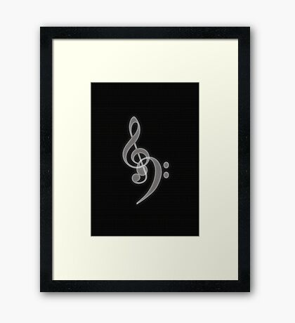 Music - Treble and Bass Clef Framed Print