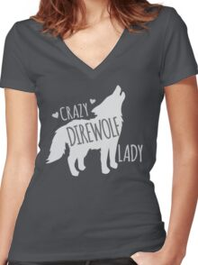 CRAZY Direwolf lady Women's Fitted V-Neck T-Shirt