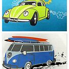"Love bug & camper van featured in ""Creative Cards"" & ""Freedom in Words and Art"" by ©The Creative Minds"