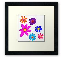 Retro Solid Flowers-Cooltones Framed Print