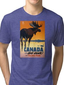 Canada Moose Vintage Travel Poster Restored Tri-blend T-Shirt