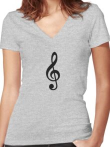 Music Note Women's Fitted V-Neck T-Shirt