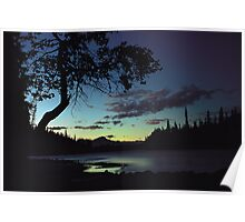Sunset over Athabasca  River Poster