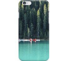 Lake Louise red canoes iPhone Case/Skin