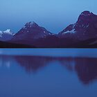 Moon over Bow lake by Graeme Wallace