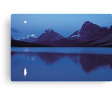 Moon over Bow lake Canvas Print