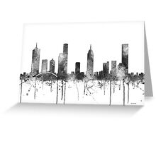 Melbourne, Victoria Skyline - B&W Greeting Card