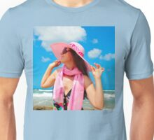 Portrait with a pink hat Unisex T-Shirt