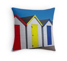 happy holiday beach huts  Throw Pillow
