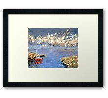Lonely red boat Framed Print
