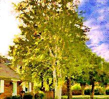 House near two birches by Benjamin Gelman