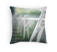 Clothespin - card with quote* Throw Pillow