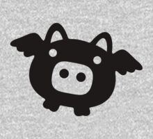 Flying Pig Black B&W Kids Clothes