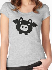 Flying Pig Black B&W Women's Fitted Scoop T-Shirt