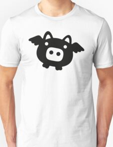 Flying Pig Black B&W Unisex T-Shirt