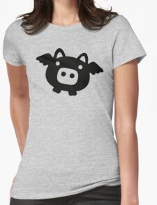 Flying Pig Black B&W Womens Fitted T-Shirt
