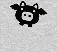 Flying Pig Black B&W Unisex T-Shirt