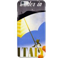 Winter in Italy Vintage Travel Poster Restored iPhone Case/Skin