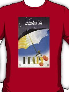 Winter in Italy Vintage Travel Poster Restored T-Shirt