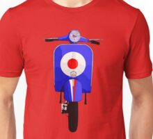 Blue Scooter with target and stripe decal Unisex T-Shirt