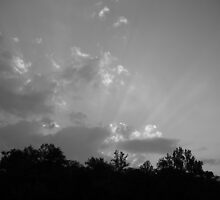 black and white sunrays at sunset - bald rock, sc by cortypants