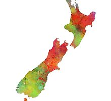 NZ Map by Marlene Watson