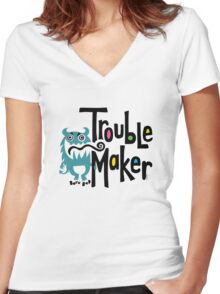 Trouble Maker - born bad Women's Fitted V-Neck T-Shirt