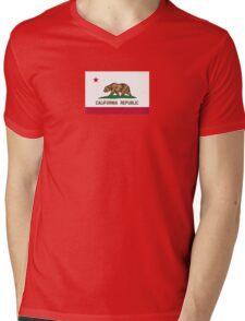 California USA State Flag Bedspread Duvet T-Shirt - Californian Sticker Mens V-Neck T-Shirt