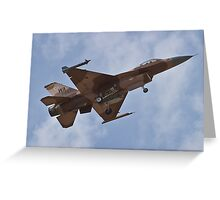 Desert camouflaged F-16 Fighting Falcon landing during Red Flag 10-2 Greeting Card