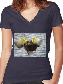 Goofy Duck - Women's Fitted V-Neck T-Shirt