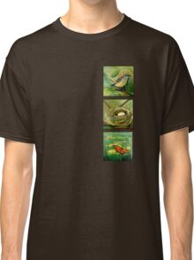Nature with mockingbird, nest and butterfly Classic T-Shirt