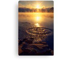 Ripple ring splash in water lake Canvas Print