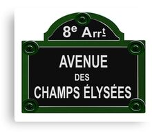Champs Elysees Road Sign Replica Design Canvas Print