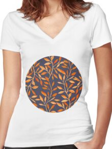 Autumn pattern Women's Fitted V-Neck T-Shirt