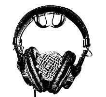 """mirrorball headphones in black & white"" Photographic Print"
