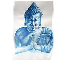 Blue Buddha ink painting Poster
