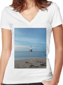 Rattray Head Lighthouse at Sunset Women's Fitted V-Neck T-Shirt