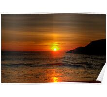 Sunset at Squeaky Beach Poster