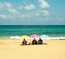 Three umbrella on a lonely sea beach by Benjamin Gelman