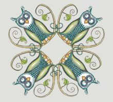 Owl on Swirly Branch Design by Sally Booth