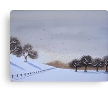 Rural snow scene landscape art for christmas  Canvas Print