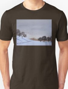 Rural snow scene landscape art for christmas  T-Shirt