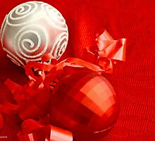 Red Christmas ball and white Christmas ball on red by pogomcl