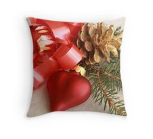Christmas greens with red heart and ball with gilt pine cone on white damask Throw Pillow