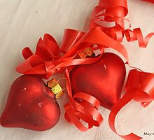 Two red satin glass heart ornaments on white damask with red ribbon by pogomcl