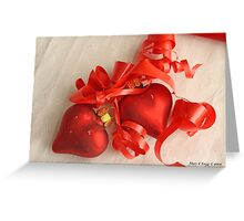 Two red satin glass heart ornaments on white damask with red ribbon Greeting Card