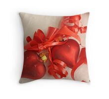Two red satin glass heart ornaments on white damask with red ribbon Throw Pillow