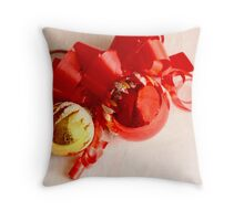 Red and gold Christmas balls on white damask linen Throw Pillow